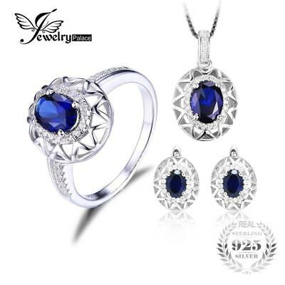 Jewelrypalace Oval  925 Sterling Silver Jewelry Set Blue Created Sapphire Ring P