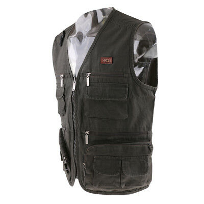 Mens Multi Pocket Vest Cotton Fishing Hiking Travel Jacket Outdoor Waistcoat