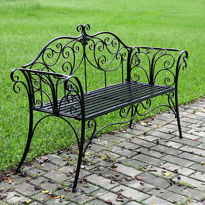 Park Bench Steel Iron Frame Garden Patio Park Chair Seat Vintage Indoor Outdoor