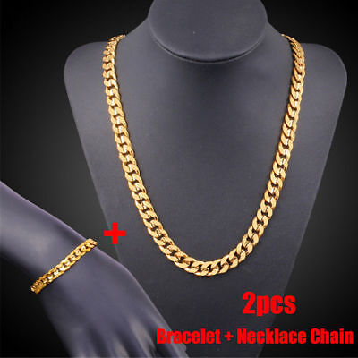 18k Yellow Gold Filled Men's Bracelet + Necklace Chain Set Cool Type  KP
