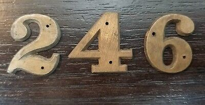 Vintage 1 Inch Solid Brass House Numbers 2 4 and 6