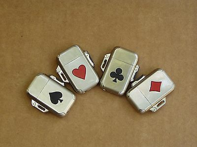 Set of 4 Lighters, Playing card series - Vintage, Camel, Butane