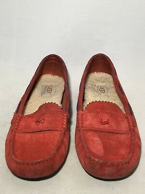 1be3f26b76a UGG AUSTRALIA 1003739 Meena Red Suede Shearling Driving Moccasin Women's US  8