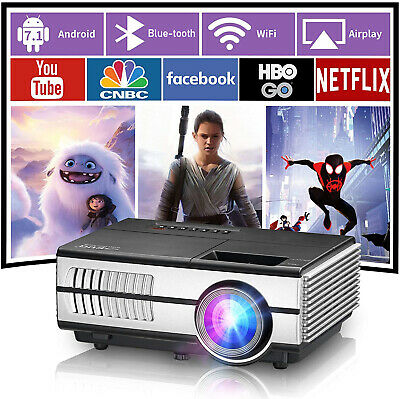 HD Wifi Bluetooth Smart Projector Wireless Airplay for iPhone iPad Tablet