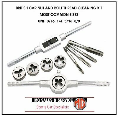 Morris Minor  Set Of 8 X Unf Sae Re-Threading Taps & Dies With Handles