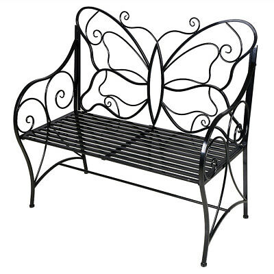 Home Garden Metal Butterfly Back Garden Bench  Decor Furniture Patio 2 or 3 seat