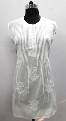 100%Cotton Chicken Kurtis Women Wear Blouse Tunic Embroidery Top White Kurta 13