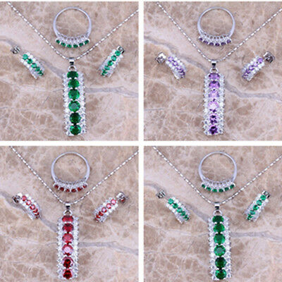 925 Sterling Silver Emerald Amethyst Ruby Pendant Necklace+Earrings+Ring Jewelry