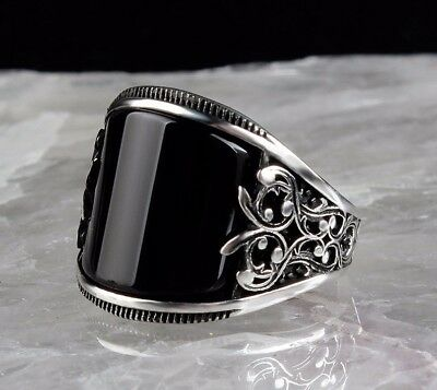 925 Sterling Silver Turkish Handmade SPECIAL Onyx Mens Ring Sz 11 us fr. resize