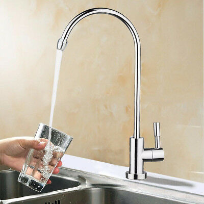 1/4'' Steel RO Drinking Water Filter Pure Faucet Reverse Osmosis System Sink Tap