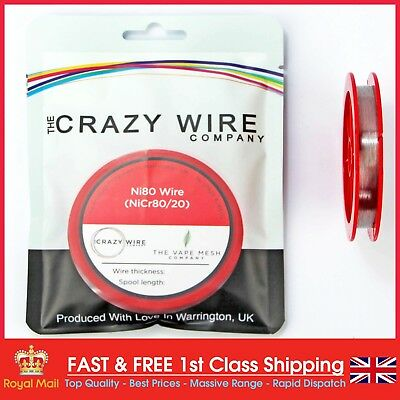 40  AWG (0.08mm) Nichrome (Ni80) Resistance Wire 1000ft Spool by Crazy Wire Co