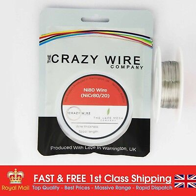NI80 Nichrome 28 Gauge AWG (0.32mm) Resistance Wire- 33' Roll - 13.6 ohms/m