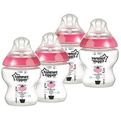Tommee Tippee Closer to Nature Box of 4 Baby Newborn Feeding Bottles 150ml Pink