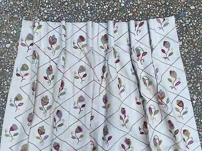 Vtg Pair Crewel Diamond Pattery Country Cabin Custom Drapes Pleated 45 W  87 L