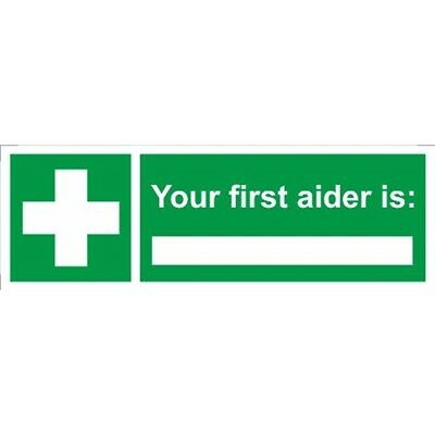 First Aider Is… Self Adhesive Vinyl 300mm x 100mm - Castle Promotions Sign