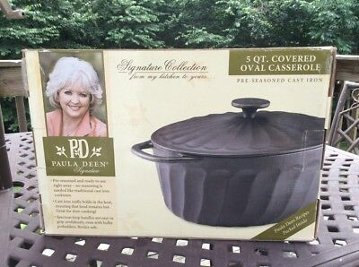 Paula Dean Covered Oval 5 Quart casserole porcelain enamel cast iron