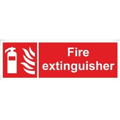 Fire Extinguisher Self Adhesive Vinyl 300mm x 100mm - Castle Promotions Sign