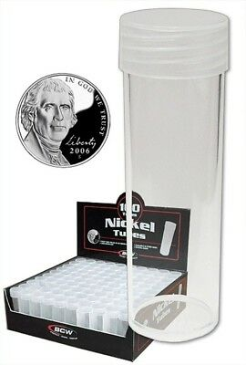(10) Bcw Nickel Coin Size Clear Plastic Round Tube Storage Display Holders