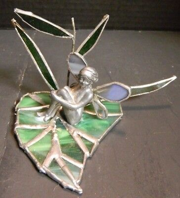 Vintage Hand Crafted Pewter Fairy On Leaded Stained Glass Leaf Excellent Cond