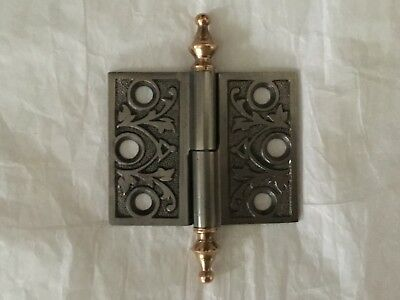 Antique Cast Iron East Lake Design Cabinet Door Hinge With Brass Steeple Tips