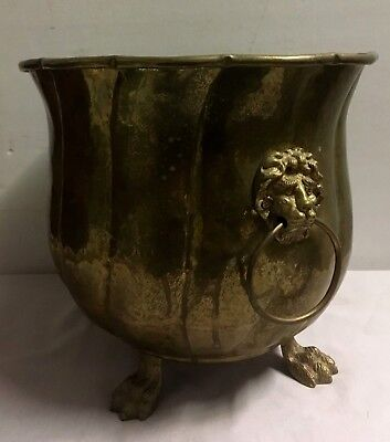 Vintage Large oval Brass Footed Planter Lion Head Handles Handcrafted 13x10x9.5H