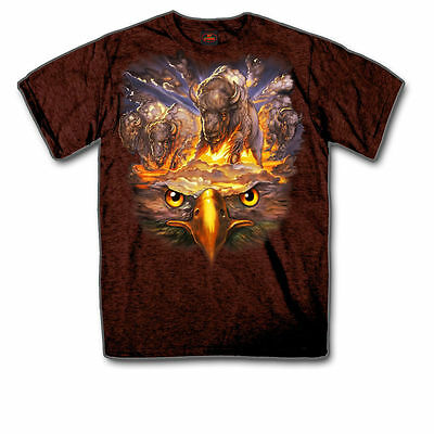 Eagle & Buffalo T Shirt American Spirit Motorcycle T Shirt XL  NEW