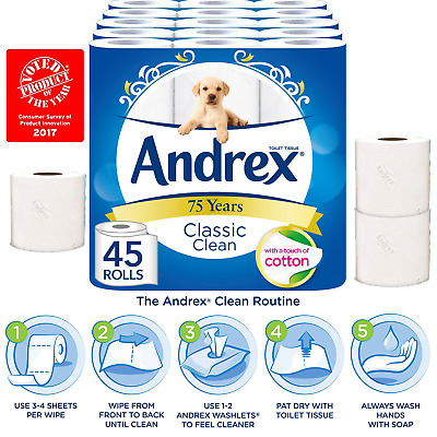 Andrex Classic Clean Toilet Roll Tissue Paper Pack Of 45 Rolls White Thicker New