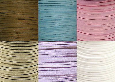 Faux Suede Flat Cord 3Mm- Jewellery Making & Crafts, Choose Col & Length