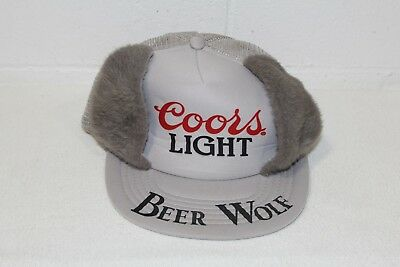 Vintage RARE Coors Light Beer Wolf Trucker Hat w Fuzzy Ears, Snapback Breweriana
