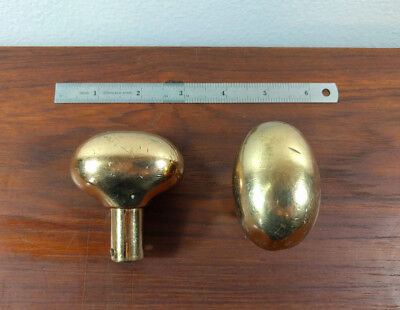 Antique English Solid Brass EGG Door Knobs Set of 2