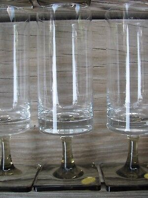 "Set 9 NEW Rosenthal Crystal LINEAR SMOKE 6"" White Wine Glass Mid-Century Modern"