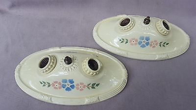 Pair of Antique Porcelier Porcelain 2-Bulb Ceiling Light Fixtures, Rewired
