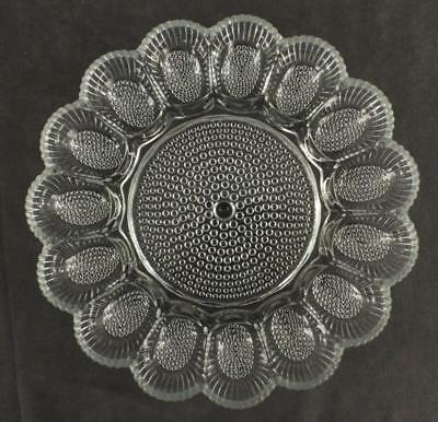Vintage Kitchen Indiana Glass Hobnail Clear Glass Relish Bead EGG Serving PLATE