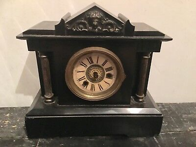 Antique slate mantle clock