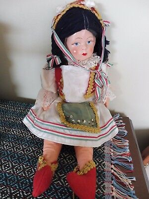 VERY OLD European DOLL Paper Mache face stuffed body Unmarked Italy? 18-19""
