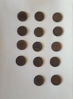 A nice collection of 14 different British Indian King gorge V 1/12 Anna coins