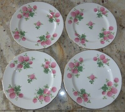 "Lot Of 4 Hammersley & Co Fine Bone China Salad Dessert 8"" Plates White Pink Gold"