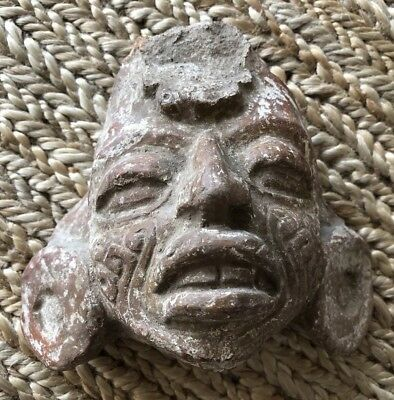 Antique Mayan or Incan Face Carved into Stone Incredible Detail! Pre-Columbian?