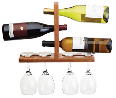 Bar Craft by Kitchen Craft Wall Mounted Wooden Wine Glass and Bottle Holder Rack
