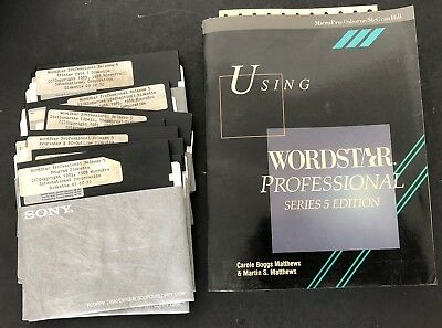 Vtg Computer Software WordStar Professional Release 5 + book floppy disks