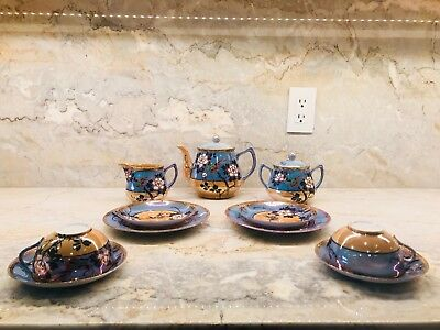 Antique Japanese Cherry Blossom Tea Set for Two in Blue and Gold Lusterware