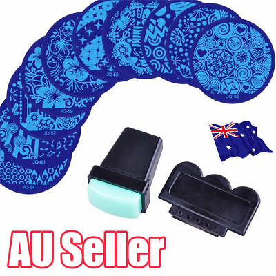 10 X Nail Art Stamp Stencil Stamping Template Plate Set Tool Stamper Design ON