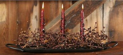 NEW!! Primitive Country Wrought Iron 3 Candle Holder Dish Colonial