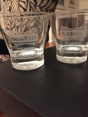 "Bushmills Irish Whiskey Rare ""400 Years Of Tradition"" Etched Rocks Glasses(Two)"