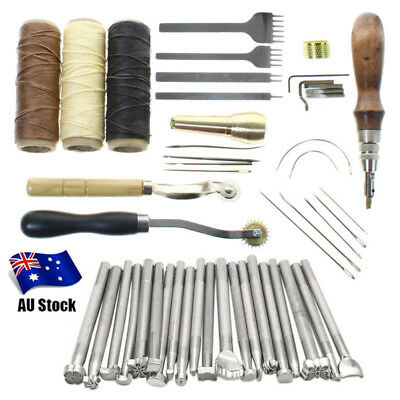 48Pcs Leather Craft Punch Tools Stitching Carving Working Saddle Sewing DIY Kits