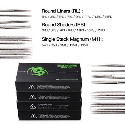 200 pc Sterile Tattoo Needle Kit Steel Round Liner Shader Varied Sizes Supplie W