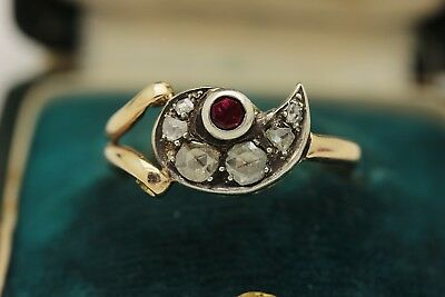Antique Original Ottoman Handmade Vav Style  Diamond And Ruby Decorated  Ring