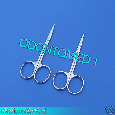 """MICRO IRIS SCISSORS 4.5"""" Curved + Straight Stainless Steel Surgical Instruments"""