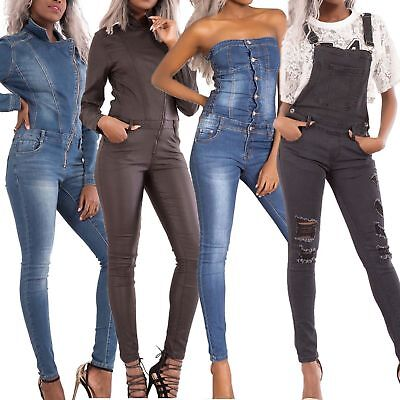 WOMEN'S SKINNY DENIM JUMPSUIT Ladies Dungarees Slim Fit Overall Jeans SIZE 6-14
