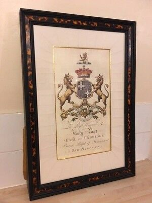 A Framed Armorial Coat of Arms for Henry Paget 2nd Earl of Uxbridge 1719-1769